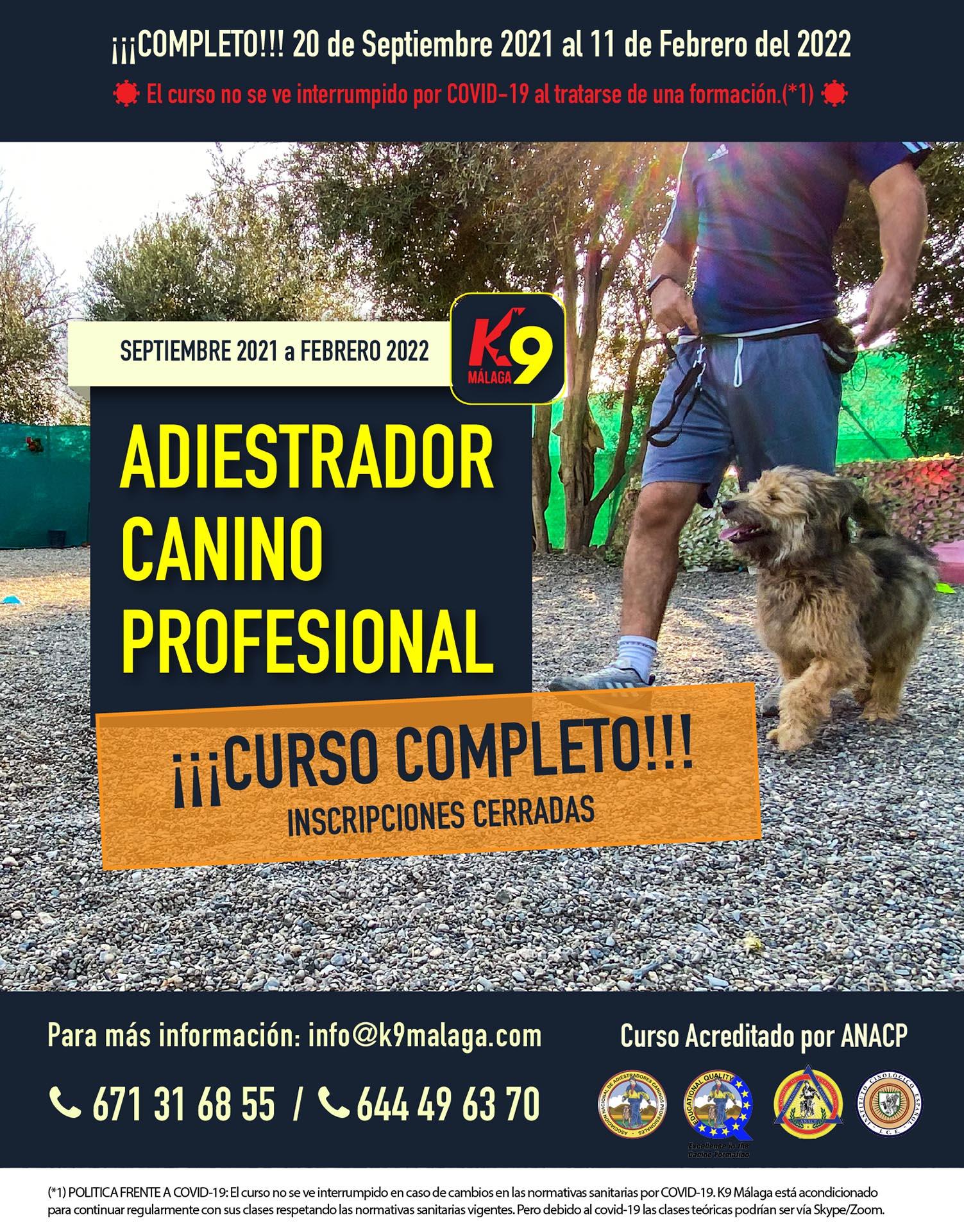 COMPLETO - Formación Adiestrador Canino Profesional y Técnico en Modificación de Conductas Septeimbre 2021