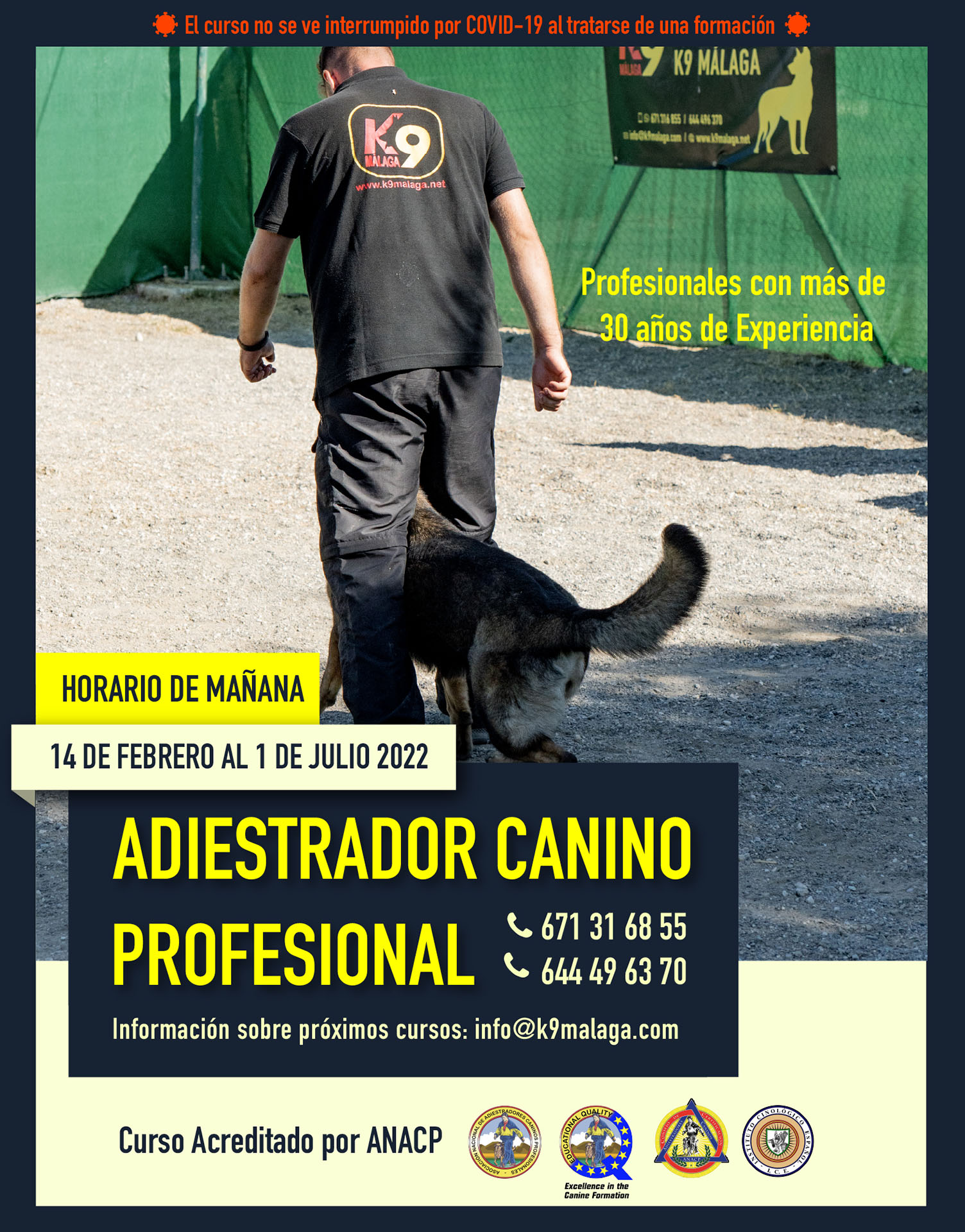 Curso Adiestrador Canino Profesional K9 Málaga 2022. Acreditado por ANACP.